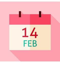 Flat Design Valentine Day Calendar Date Icon vector image