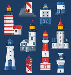 flat lighthouses and sea guide lights vector image