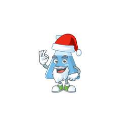 friendly blue chemical bottle santa with ok finger vector image