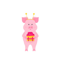 funny pig with gift box at a party greeting card vector image