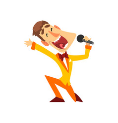 Game show host with microphone vector