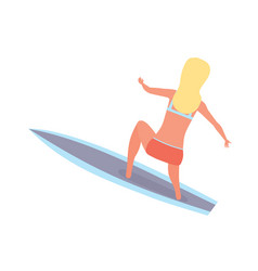 Girl with legs in lap rolling on waves on board vector