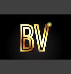 gold alphabet letter bv b v logo combination icon vector image