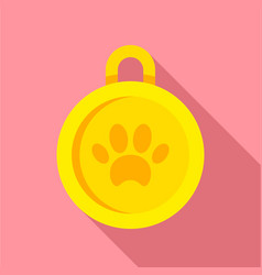 gold dog medal icon flat style vector image