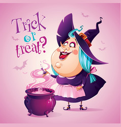 Halloween witch is brewing a potion vector