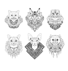 Hand drawn cat faces vector