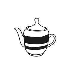hand drawn teapot icon vector image