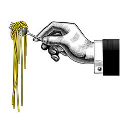 hand holding a fork with spaghetti vector image