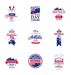 happy australia day typography design collection vector image