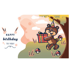 happy birthday card template with brown bear vector image
