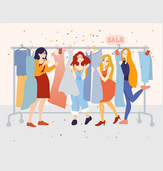 happy female customers choosing dresses in the vector image