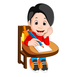 happy schoolboy writing in class vector image