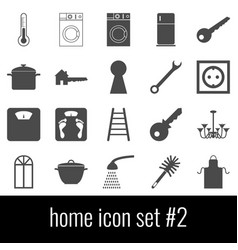 home icon set 2 gray icons on white background vector image