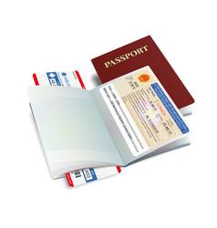 International passport with vietnam visa vector