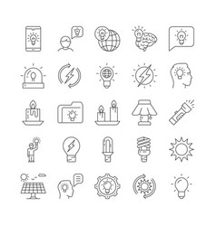 line set glowing icons vector image