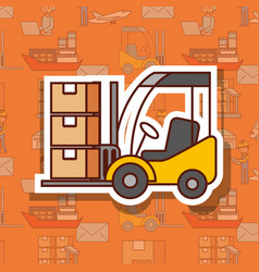 Logistic forklift loading cardboard boxes cargo vector