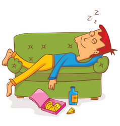 lying and sleeping on sofa vector image