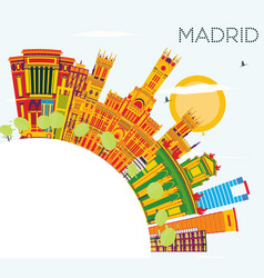 madrid skyline with color buildings blue sky and vector image