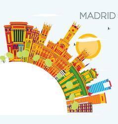 Madrid skyline with color buildings blue sky vector