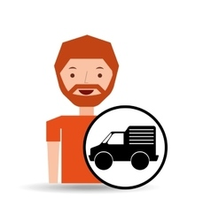 Man mini truck icon vector