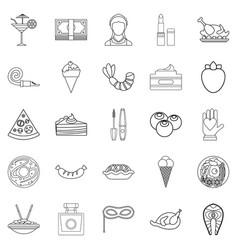 Masquerade ball icons set outline style vector