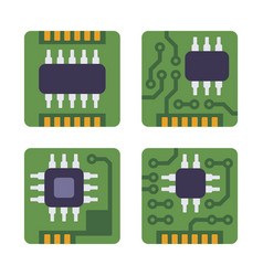 Micro chip processor icons set cpu electronic vector