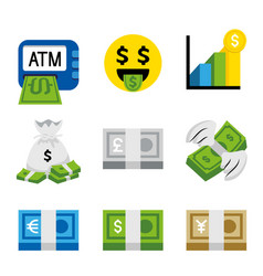 money dollar bank coin finance business vector image