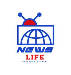 news life logo original design social mass media vector image