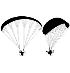Paraglider with Paramotor Silhouette vector image