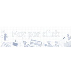 Pay per click text on squared notebook paper vector