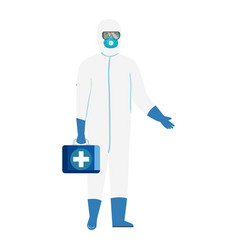 person with biohazard suit protection and first vector image