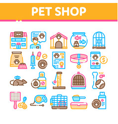 pet shop collection elements icons set vector image