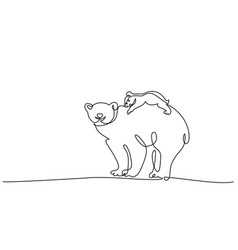 polar bear with baby cub one line drawing vector image