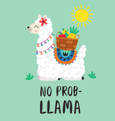 Poster with llama and fruit basket vector