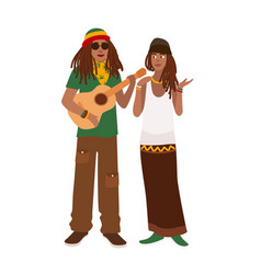 rastafari couple man wearing rastacap and playing vector image