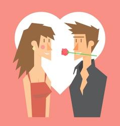 romantic couple dating valentine flat design vector image