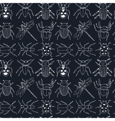 seamless pattern doodle sketch Bugs and beetles vector image