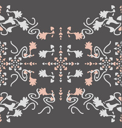 Seamless pattern floral and hearts vector