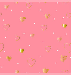 seamless pattern valentines day with golden hearts vector image