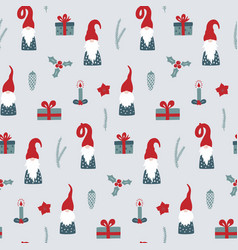 seamless pattern with nordic gnomes and christmas vector image