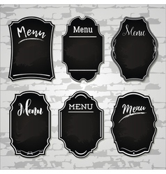 set 4 of design elements chalkboard menu sample vector image