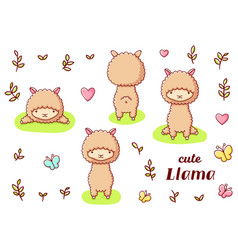 Set cute kawaii hand drawn llama doodles isolated vector