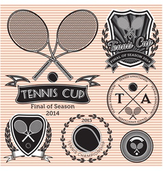 set emblems on big tennis vector image