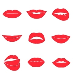 Set glamour red lips beautiful female lips vector