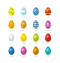 Set of sixteen bright colourful easter eggs on vector image