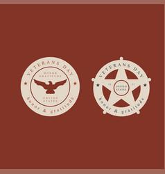 set of veterans day labelsstamps and design vector image