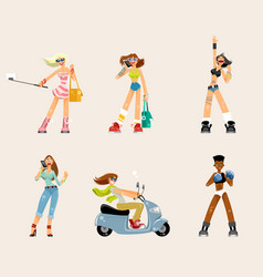 set of young women vector image