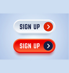 sign up buttons in 3d style with arrow sign vector image