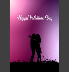 Silhouette couple kissing over pink valentines day vector