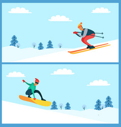 skier and snowboarder set vector image